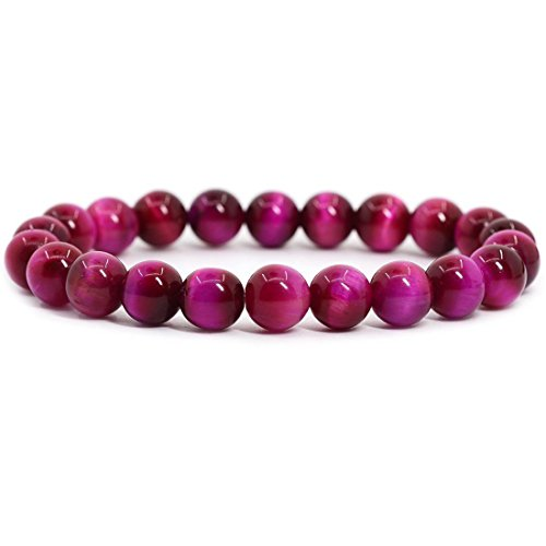 - Natural AA Rose Tiger Eye Gemstone 8mm Round Beads Stretch Bracelet 7