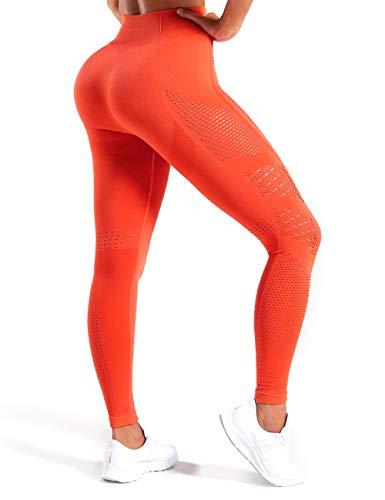 HURMES Women's High Waist Seamless Leggings Slimming Tummy Control Yoga Pants Stretchy Workout Running Sport Gym Tights Orange