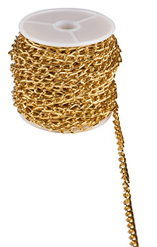 Gold Curb Link Chain Spool - Aluminum Jewelry Chain Roll, Jewelry Making Chain, Perfect for Men and Women's Accessories, Bracelets, Keychains and Jewelry DIY Making, 0.18 Inches x 15 Yard