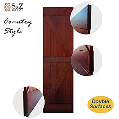 S&Z TOPHAND 24 in. x 84 in. Finished Antique Art, Coffee, British Brace Knotty Pine Barn Door/Sliding Door/Double Surfaces/A Simple Assembly is Required.(24, Coffee)