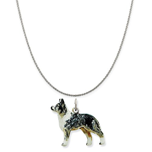 Mireval Silver Enamel Australian Shepherd Charm on a Sterling Silver Rope Chain Necklace, 18