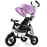 Costzon Baby Tricycle, 6-in-1 Steer Stroller, Learning Bike w/Detachable Guardrail, Adjustable Canopy, Safety