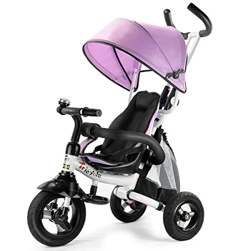 Costzon Baby Tricycle, 6-in-1 Foldable Steer Stroller, Learning Bike w/Detachable Guardrail, Adjustable Canopy, Safety Harness, Folding Pedal, Storage Bag, Brake, Shock Absorption Design, Pink (Smart Trike)