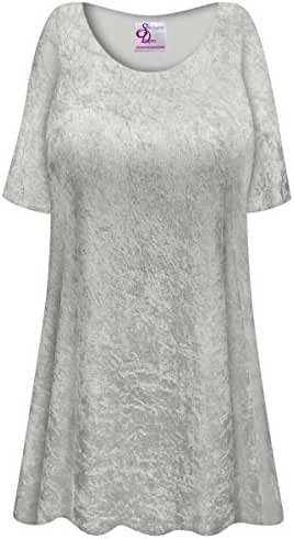 Silver Crush Velvet Plus Size Supersize Extra Long A-Line Top