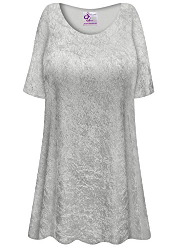 Silver Crush Velvet Plus Size Supersize Extra Long A-Line Top 3x