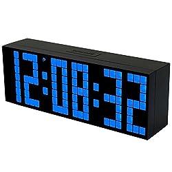 BestOpps Digital Large Big Jumbo LED Snooze Wall Desk Alarm Clock with Thermometer Calendar Indoor Clock (Blue)