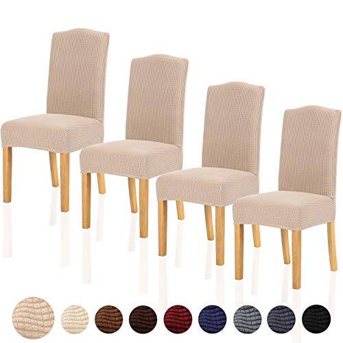 TIANSHU Stretch Chair Cover for Home Decor Dining Chair Slipcover (4 Pack, Sand) (For Chairs Dining Slipcovers)