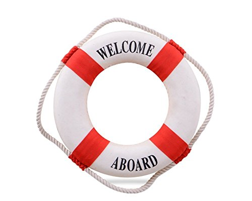 Welcome Aboard Cloth Life Ring Navy Accent Nautical Decor 13.5