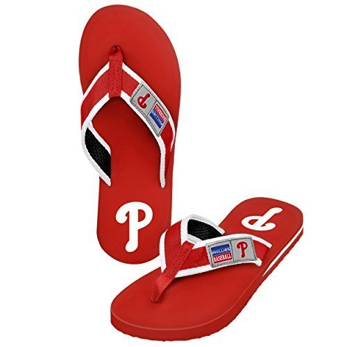 - 2015 MLB Baseball Mens Locker Label Contour Beach Summer Sandal Flip Flops (Philadelphia Phillies, Large)