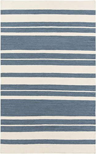 2' x 3' Epais Raye Smokey Blue and Beige Reversible Hand Woven Wool Area Throw Rug