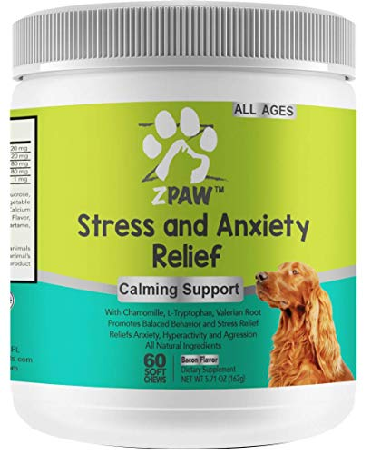 ZPAW Natural Calming Treats for Dogs | Dog Stress and Anxiety Medicine Aid with Melatonin for Hyper Dogs Fireworks Thunderstorm Travel and Separation Anxiety - 60 Chewable Treats
