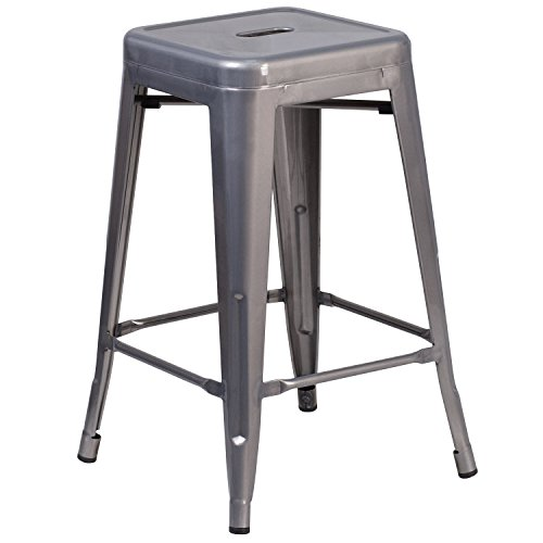 High Backless Clear Coated Metal Indoor Counter Height Stool with Square Seat (24' Backless Metal)