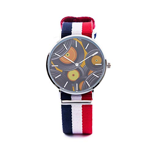 - Unisex Fashion Watch Vinyl Record Music Nostalgic Retro Creative Color Poster Design Trend Print Dial Quartz Stainless Steel Wrist Watch With Nylon Nato Strap Watchband For Women Men 36mm Casual Watch