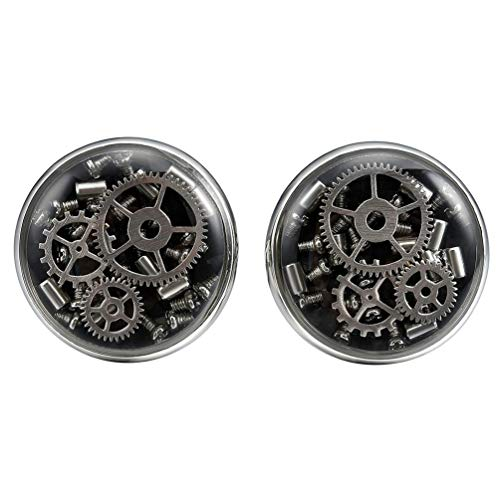 Three Keys Jewelry Steampunk Silver Gear Cool Cufflinks for Men Women Vintage Jewelry Real Recycled Watch Movement Black Carbon Fiber Cufflink for Business Shirt Groom Father from Three Keys Jewelry