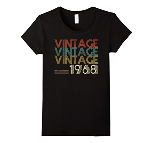 Classic 50's Retro Shirt (Womens Retro Classic Vintage Born In 1968 - 50th Gift 50 Years Old Large Black)