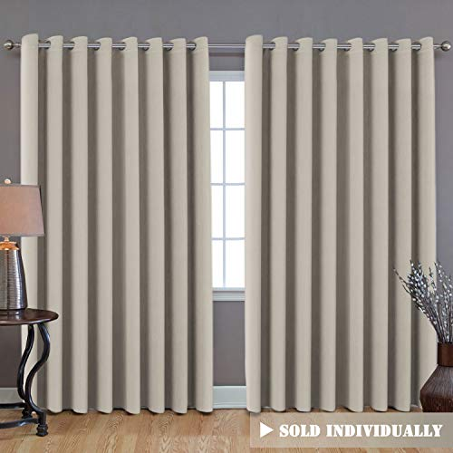 Extra Long and Wide Blackout Curtains, Thermal Insulated Premium Privacy Room Divider Window Treatment Drapes, 7' Tall by 8.5' Wide - Grommet Wider Curtain Large Size 100 W by 84 L - Cream