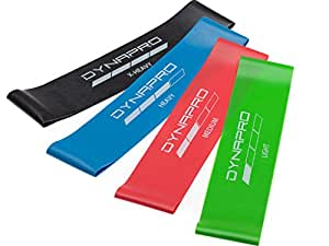 DYNAPRO Resistance Bands- Mini Precision Loop Exercise Bands with E-Quickstart Workout Guide (Black-Green-Red-Blue)