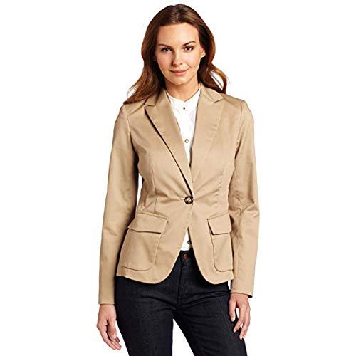 Jones New York Women's Long Sleeve One Button Blazer, Fawn, 4 (Signature York Jones New)