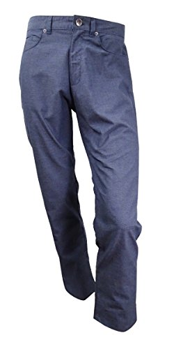 Calvin Klein Men's Five Pocket Broken Herringbone Pant, Dress Blues, 32W 32L by Calvin Klein