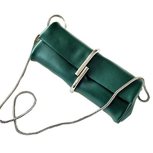 Para Mujer De Cuero Embrague Moda Color Sólido Metal Clips La Bolsa De La Cadena DarkGreen