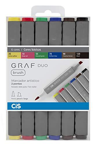 Marcador Artístico 2 Pontas, CiS, Graf Duo Brush, 60.86, 6 Cores Básicas