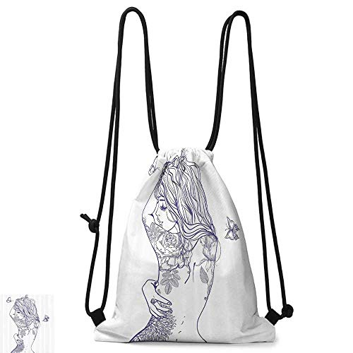 Personality backpack Girly Decor Young Girl With Tattoos And Butterflies Free Your Soul Inspired Long Hair Feminine Image W14
