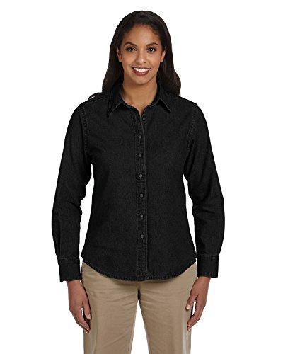 - Harriton Women's Spread Collar Denim Shirt, WASHED BLACK, Medium
