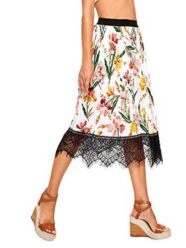 (WDIRARA Women's Floral Elastic Waist Contrast Lace Hem Midi A-Line Pleated Skirt Beige L)