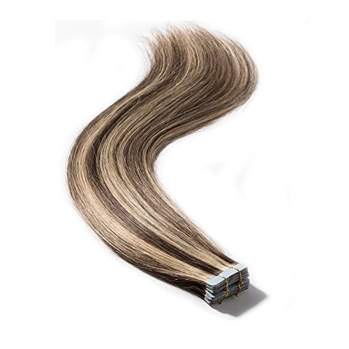 Tape in Human Hair Extensions 22 inches 100g 40 Pieces Rooted Straight Seamless Skin Weft Invisible Double Sided Tape 40pcs 22'' #4/27 Medium Brown mix Dark Blonde +20pcs Free Tapes ()