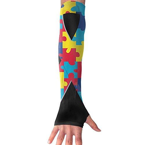 HBSUN FL Unisex Autism Awareness Ribbon Anti-UV Cuff Sunscreen Glove Outdoor Sport Riding Bicycles Half Refers Arm Sleeves by HBSUN FL