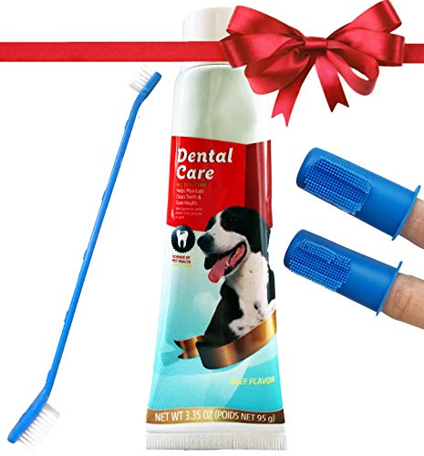 (Dog Teeth Cleaning Set - Top Holiday Dog Deals - Beef Flavored Toothpaste for Dogs • Best Dog Toothbrush Set Includes 2 Puppy Finger Toothbrushes and Dual-Headed Toothbrush for Large and Small Dogs)