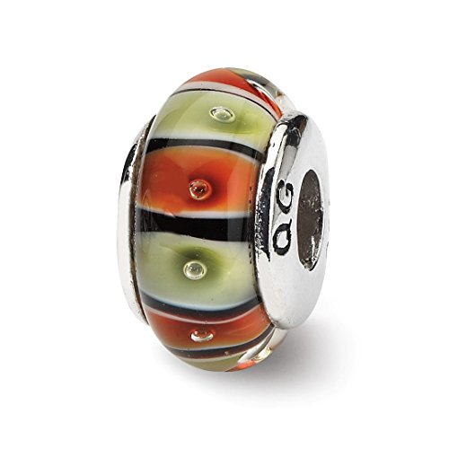 925 Sterling Silver Charm For Bracelet Orangered/lt Green Glass Bead Glas H Blown Fine Jewelry Gifts For Women For Her ()