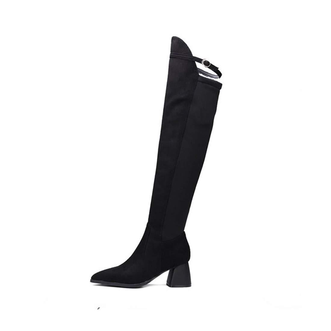 DANDANJIE Damen Stiefel Overknee Stiefel Schnalle Elastische Elastische Elastische Blockabsatz Stiefel 2018 Herbst Winter f12638