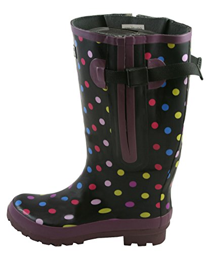 Jileon Extra Wide Calf Rubber Black with Polka Dots Rain Boots for Women-Widest Fit Boots in The US-up to 21 inch Calves-Wide in The Foot and Ankle-Durable Boots for All Weathers- 9 (XW)
