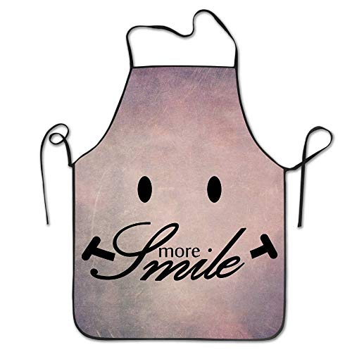 Mydufish Apron Smile More Women's Funny Creative Print Cooking Aprons ()