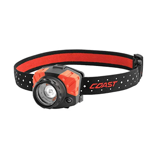 COAST FL85 615 Lumen Dual Color Pure Beam Focusing LED Headlamp with Twist Focus Hinged Beam Adjustment Hard Hat Compatibility and Reflective Strap,