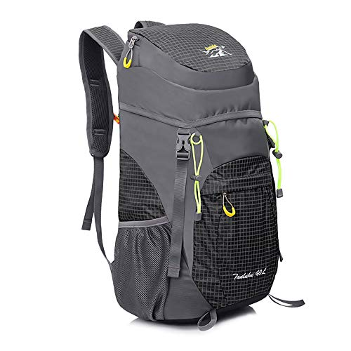 AIRSSON Waterproof 40L Foldable Hiking Lightweight Backpack for Travel Nylon Ultralight Durable Outdoor Climbing Daypack for Men&Women- Medium Compact School Laptop Rucksack (Gray+Black)