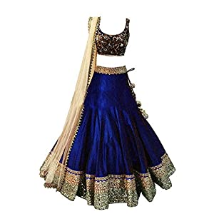 Sevisa Boutique Girl's Taffeta Silk Semi-stitched Lehenga Choli