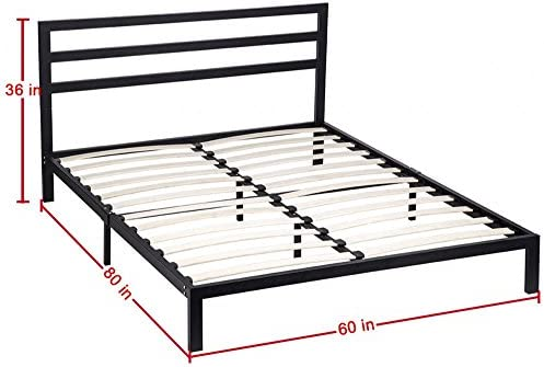 Pleasant Metal Platform Bed Frame Box Spring Queen Size Replacement Foundation W Headboards Wood Slats Theyellowbook Wood Chair Design Ideas Theyellowbookinfo
