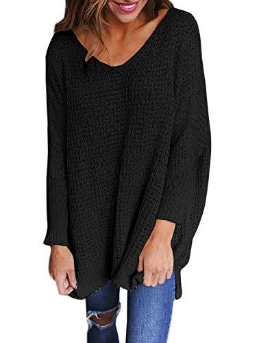 Simple-Fashion Automne et Hiver Femmes Pull en Maille Casual Tricot Haut Jumper Tops Tunique Blouses Fashion Sexy Col V Manches Longues Chandail Long Pullover Sweater Noir