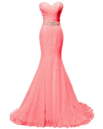 SOLOVEDRESS Women's Lace Wedding Dress Mermaid Evening Dress Bridal Gown With Sash (US 8,Coral) (Coral Lace Gown)