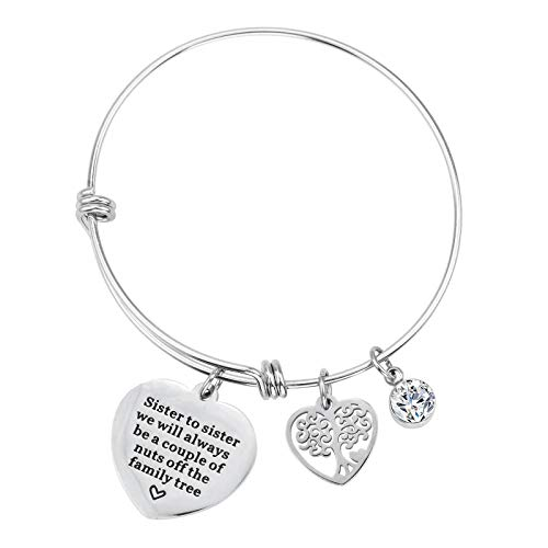 Dec.bells Jewellery Sister Charm Bracelet Heart Bangle Bracelet Tree of Life Sister to Sister we Will Always be Couple of Nuts Off The Family Tree Gift for Sister Jewelry (Sister Silver)
