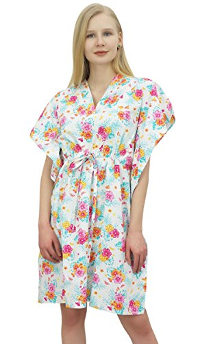 Coton Phagun Court Kaftan Blanc t Imprim Fminin Robe Floral Coverup SS1qxwI4H