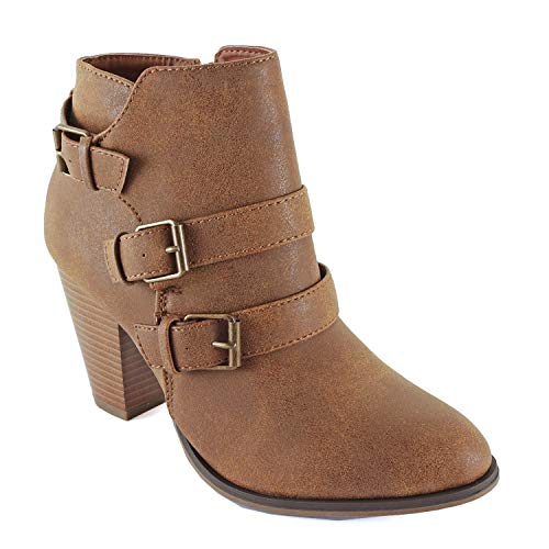 Block Ankle Boots Heel - Guilty Heart - Camila-64 Tan Pu, 7