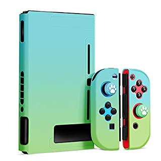 OMKUY Protective Cover Case Compatible with Nintendo Switch, Separable Cover for Switch Joy-Con Grip Cover Case (Blue+Green)