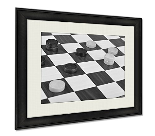 Ashley Framed Prints Detailed Photo Of The Checkers Board Game, Wall Art Home Decoration, Black/White, 30x35 (frame size), AG5547637 by Ashley Framed Prints