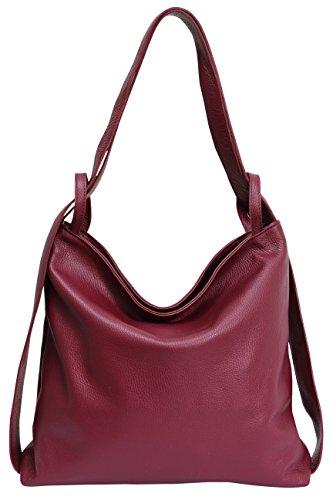 mujer Burdeos cuero mochila Bolsos AmbraModa mano para de de bolsos GL019 en de 2 hombro 1 con bolsos YSSwI