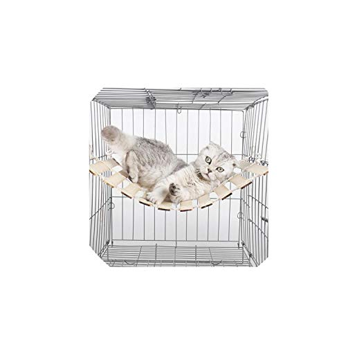 Bamboo Pet Hammock Summer Cooling Cat Hanging Bed Nest for Cats Chinchillas Ferrets Rabbits Guinea Pigs Puppies Small Pets,A,L