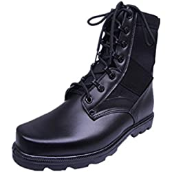 YINHAN® Men's Military Lace Up Leather Shoes Durable Mid Calf Combat Boot