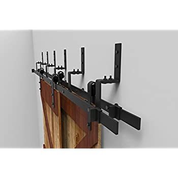 5FT Bypass Sliding Barn Double Door Hardware Track Set,Modern Interior Barn Door  Hardware Double